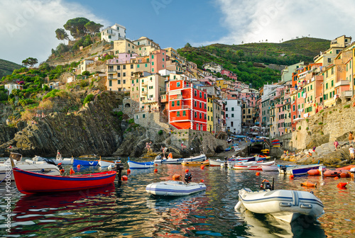 Canvas Prints Liguria Riomaggiore, Cinque Terre (Italian Riviera, Liguria) at sunset