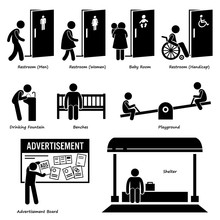 Public Amenities And Facilities Such As Toilet, Drinking Fountain, Benches, Playground, Advertisement Board, And Shelter