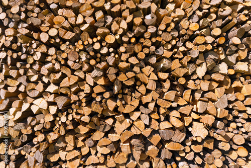 In de dag Brandhout textuur Pile of Chopped Firewood