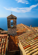 Red Roof Chapel Cross With Mediterranean Sea View At The French
