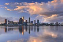 Skyline Of Perth, Australia Across The Swan River At Sunset