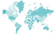 Welt Karte Blau Mit Länder Gr...