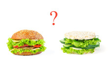 The Concept Of Choosing Between Harmful Junk Food And Natural He