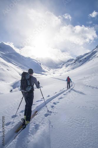 Plakat Trasa narciarska w górach