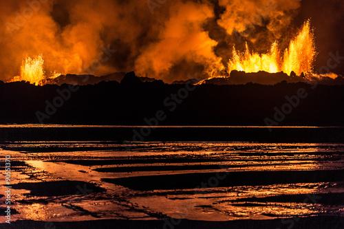 Deurstickers Vulkaan Holuhraun Vulkan Eruption in Island