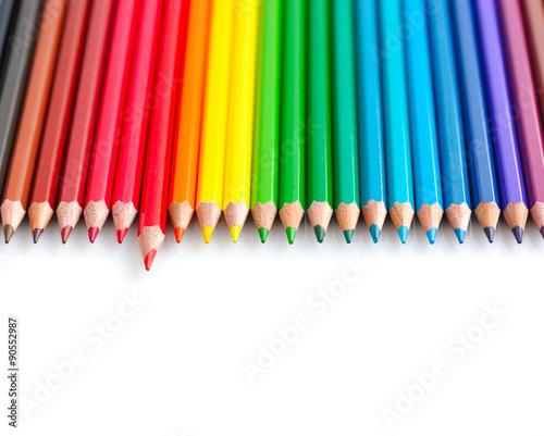 Obraz na plátně  Colour pencils isolated on white background close up