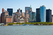 U.S.A., New York,Manhattan,the skyline of the city seen from the ferry to Liberty island
