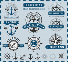 Set Of Nautical, Navigational, Seafaring And Marine Insignia Logotype Vintage Design With Anchor, Rope, Steering Wheel, Starburst, Sunburst Element   Only Free Font Used, Vector Illustration