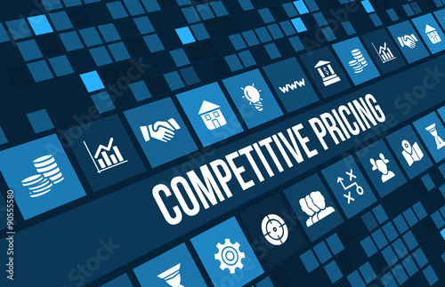Photo  Competitive pricing concept image with business icons and copyspace