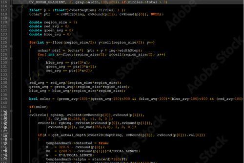 Fotografía  Program code on a dark screen