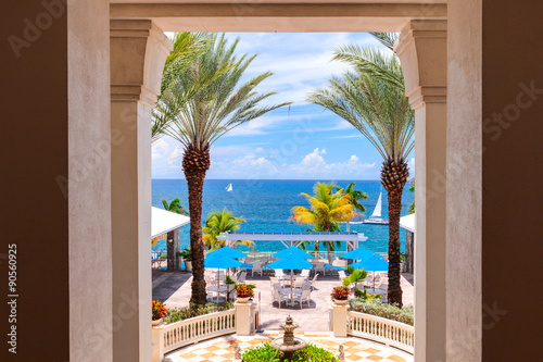 Foto op Plexiglas Wand Outside terrace with stunning panoramic view. Caribbean Sea