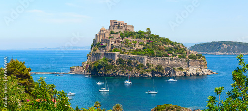 Garden Poster Napels Aragon castle. Hieron I of Syracuse built the fortress in 474 B.C. Ischia Island