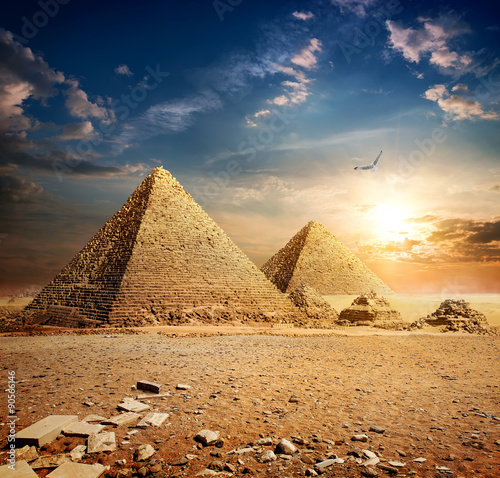 Sunset over pyramids #90566146