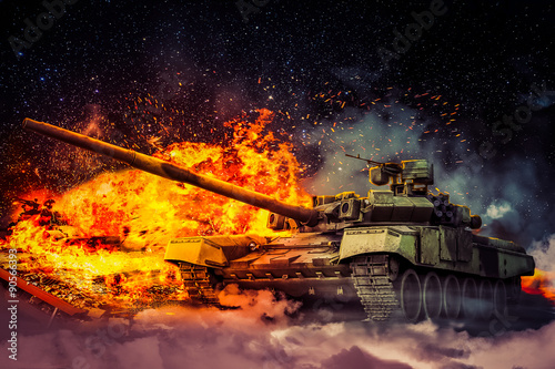 фотография  The military destroyed the enemy tank