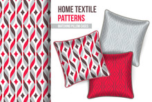 Pattern And Set Of 3 Decorative Throw Pillows