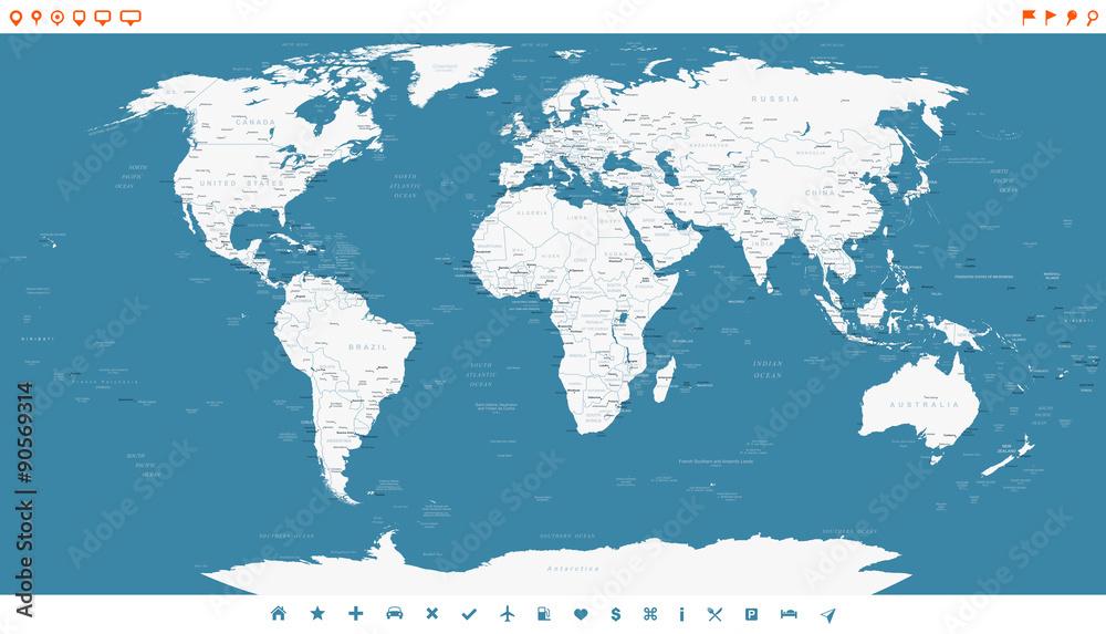 Fotografie, Obraz Steel Blue World Map and navigation icons - illustration