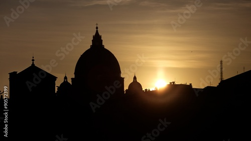 Poster Rome St. Peter's Basilica at dusk, Rome Italy