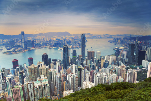 Staande foto Hong-Kong Hong Kong. Image of Hong Kong skyline view from Victoria Peak.