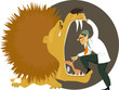Dentist stepping into an open mouth of a crying lion, examining his teeth, vector cartoon, EPS 8, no transparencies