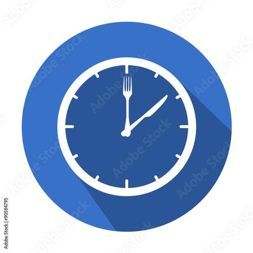 Icono redondo horario de comer con sombra azul
