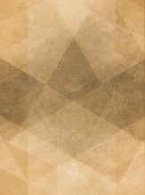 Abstract Brown Background Design Of Gray Angled Squares Blocks Triangles And Diamond Shapes In Random Pattern With Distressed Faded Vintage Background Texture
