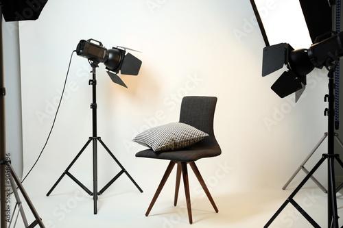 Aluminium Prints Light, shadow Photo studio with modern interior and lighting equipment
