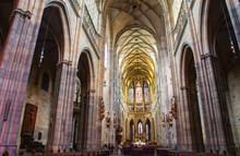 Interior Of St. Vitus Cathedral At Prague Castle, Czech Republic