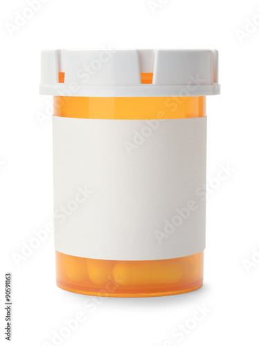 Photo  Closed Pill Bottle With Copy Space