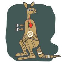 Kangaroo, Cartoon Figure. Design For T Shirt, Logo, Bag, Postcard, Poster, Illustration Etc.