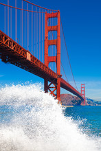 Golden Gate Bridge With Big Wave Splash And Spray In The Foregro