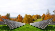 Solar Energy Panels In Autumna...