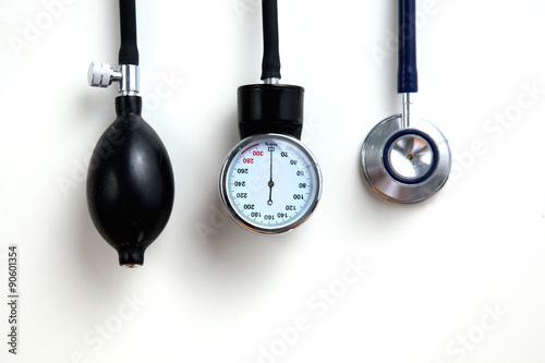 Fotomural  Blood pressure meter medical equipment isolated on white