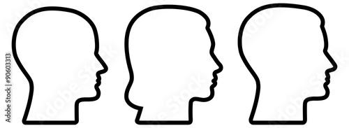 Set: 3 menschliche Gesichter im Profil: weiblich, männlich, geschlechtsneutral / Poster Mural XXL