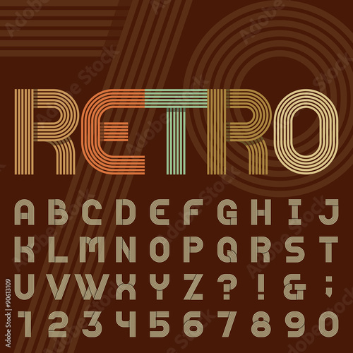 Retro Style Stripe Alphabet Vector Font Sans Serif Type Funky Letters Numbers And Symbols