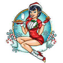 Pin Up Girl In Santa Costume