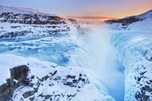 Frozen Gullfoss Falls In Icela...