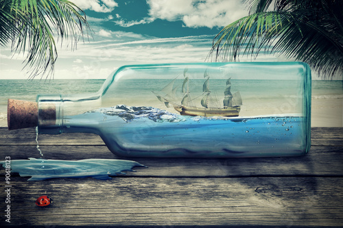Sailing luxury yacht in the bottle on beautiful seascape. Beautiful screen saver