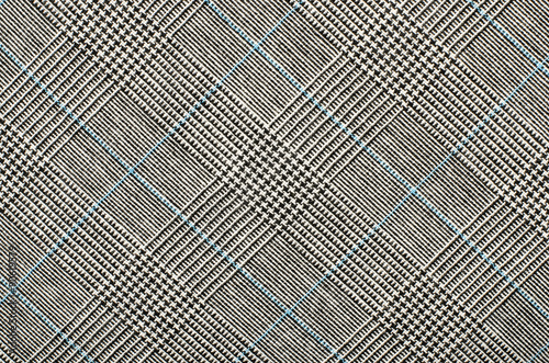 Black and white with blue houndstooth pattern in squares Wallpaper Mural