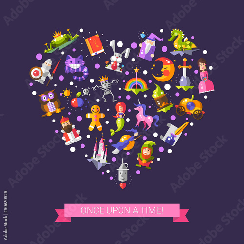 Deurstickers Pony Illustration of fairy tales flat design magic icons and elements