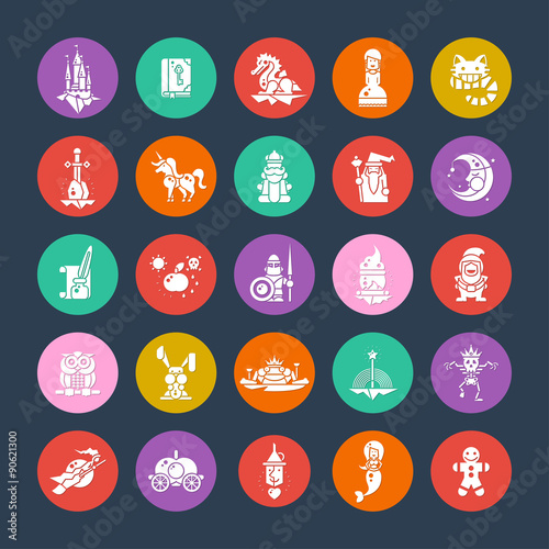 Deurstickers Pony Set of fairy tales flat design magic icons and pictograms