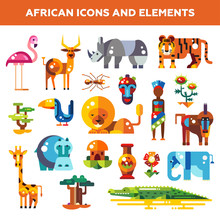 Set Of Flat Design African Ico...