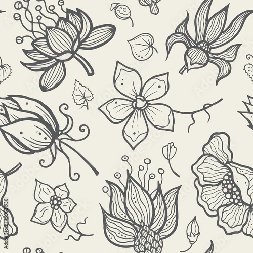 Poster Floral black and white Illustration of seamless hand-drawn floral pattern for your