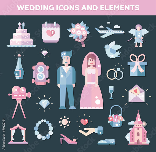 Poster Castle Set of flat design wedding, marriage icons and elements