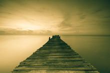 Wood Bridge On The Sea