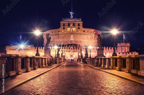 Obrazy na płótnie Canvas St Angel Castle Rome Night