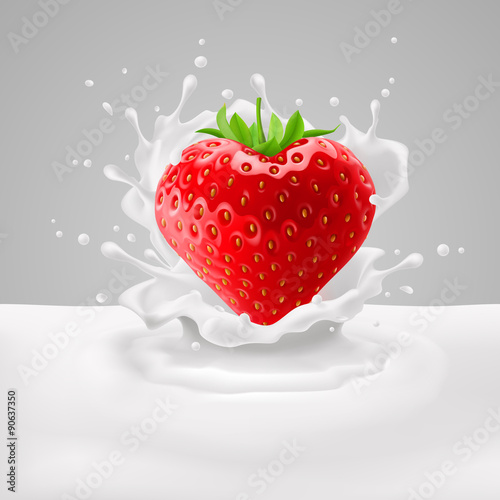 Strawberry heart with milk - 90637350