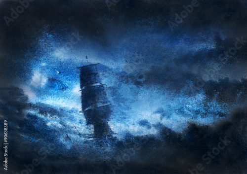 Fotografie, Obraz  sailboat in night storm