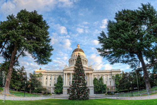 wide angel view of the capitol christmas tree located in front of the california state capitol