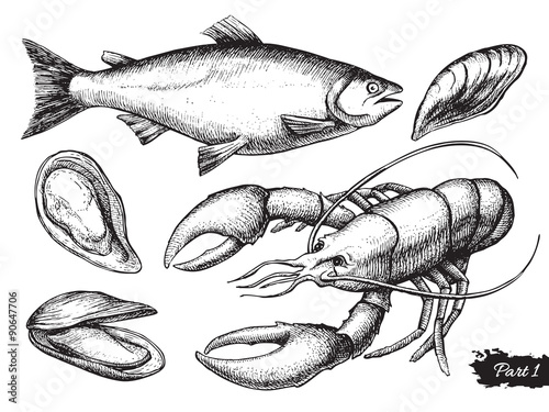 Canvastavla  Vector hand drawn seafood set. Vintage illustration