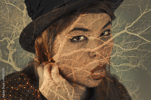 Fotografie, Obraz  Multiple Exposure Portrait